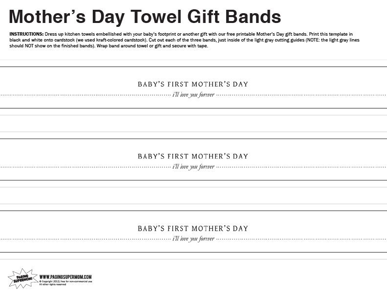 Mother's Day Free Printable Gift Bands