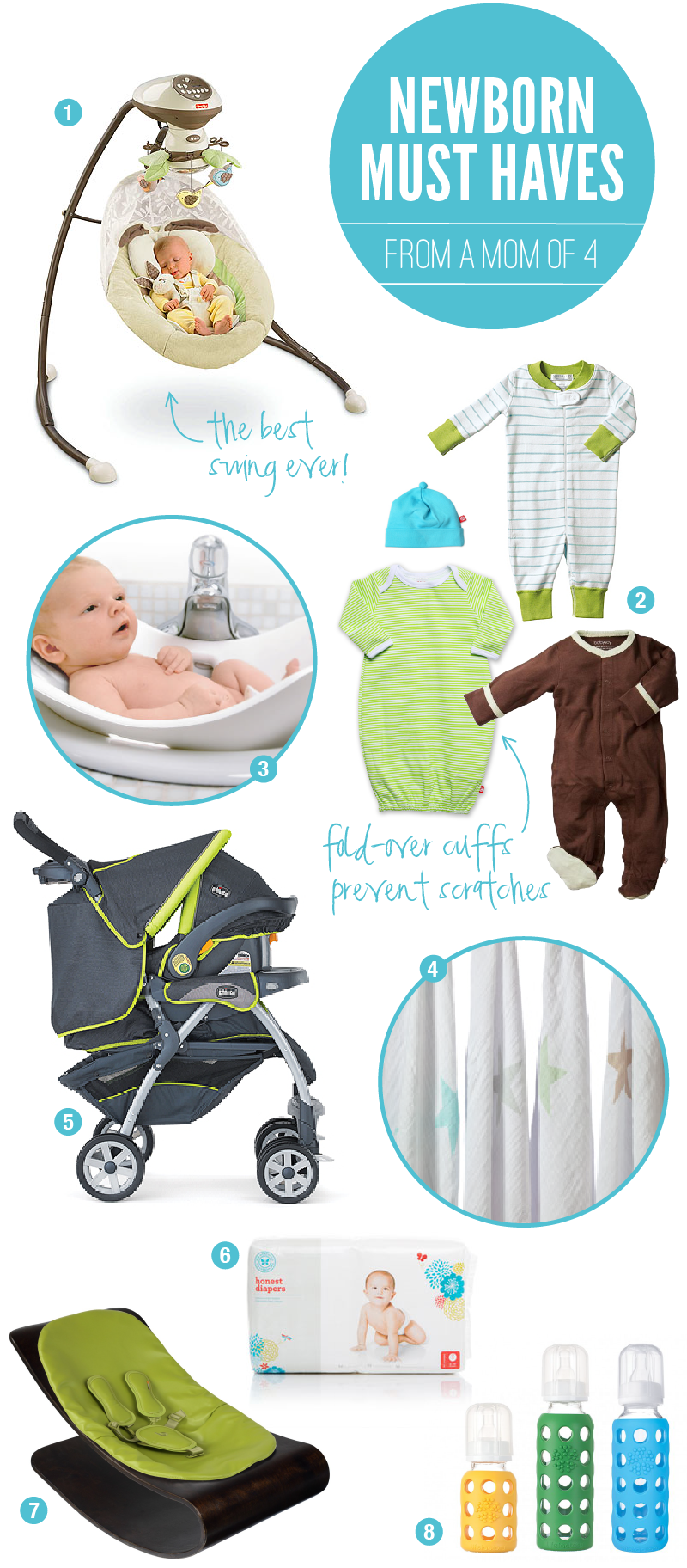 The ultimate list of essential Baby Gear for Newborns from a mom of four on PagingSupermom.com #babygear #newbornessentials #babies