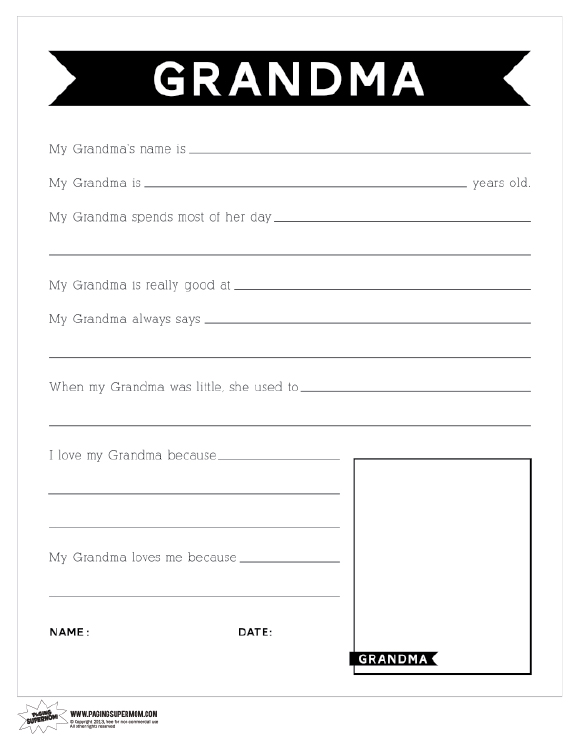 Printable mother 39 s day questionnaire for grandma paging for What to get grandma for mother s day