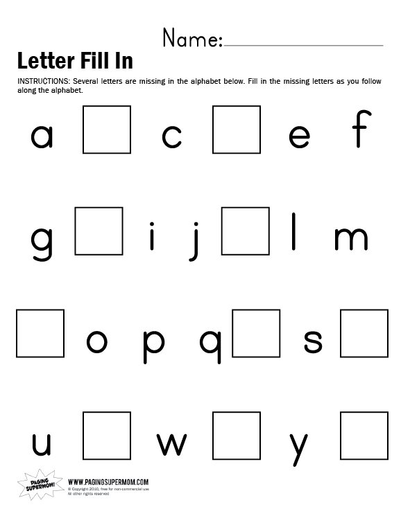 Number Names Worksheets missing alphabet worksheets for – Missing Alphabet Worksheets for Kindergarten
