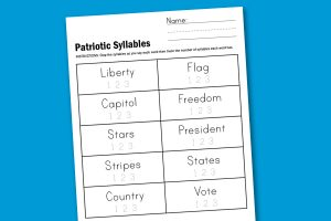 Free Patriotic Syllables Worksheet New free worksheets posted every week at PagingSupermom.com