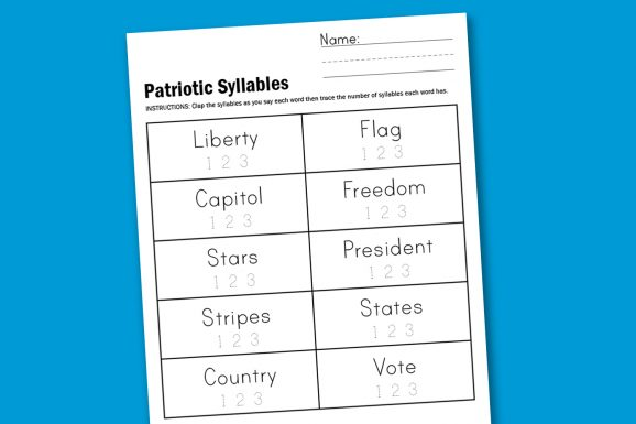 Worksheet Wednesday: Patriotic Syllables - Paging Supermom