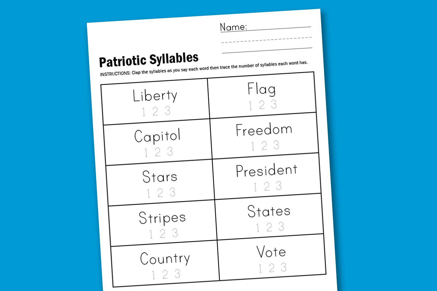 Free Worksheet to Practice Identifying Word Syllables