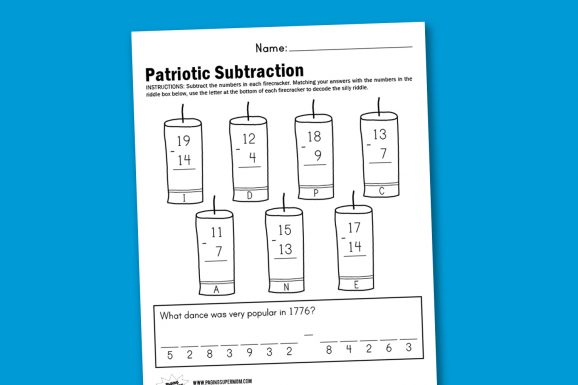 Worksheet Wednesday: Patriotic Subtraction - Paging Supermom