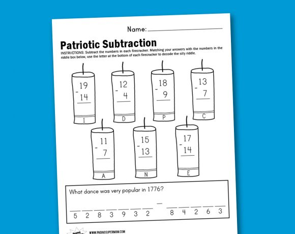 Worksheet Wednesday: Patriotic Subtraction