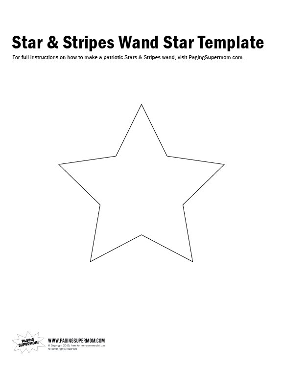 Star & Stripes Wand Star Template - Paging Supermom