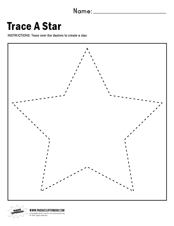 Star Worksheets For Kindergarten
