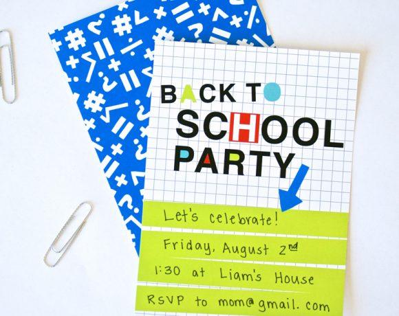 Neon Back to School Party Invite