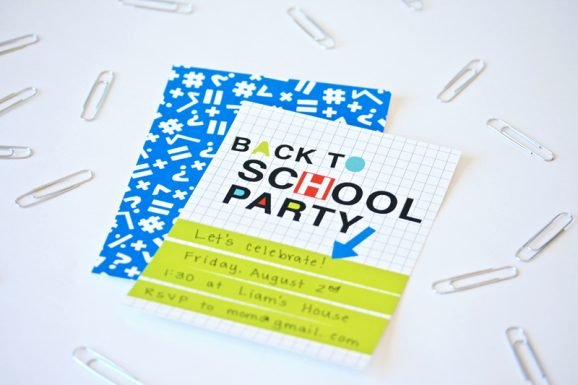 Neon Back to School Party Free Printable Invitation at PagingSupermom.com