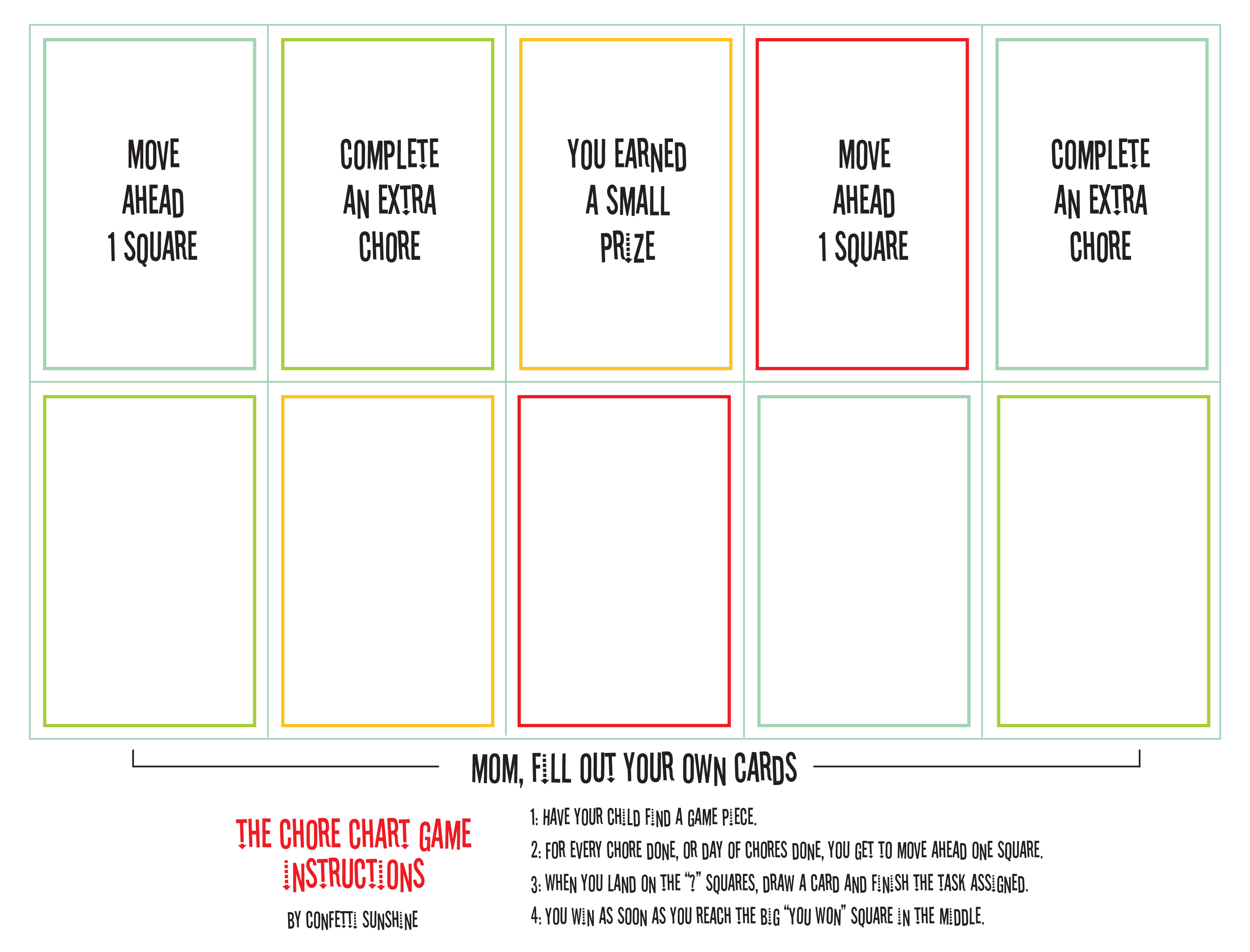 Free Printable Chore Game Paging Supermom