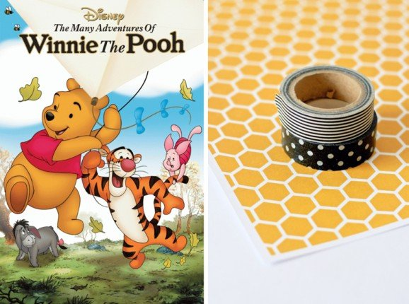 Free Honeycomb Printable Pattern Paper for Winnie the Pooh Party at PagingSupermom.com #disneywinnie