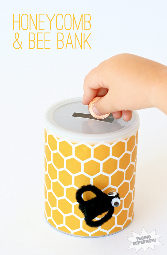 Winnie the Pooh Kids Craft - Honeycomb & Bee Bank at PagingSupermom.com #disneywinnie