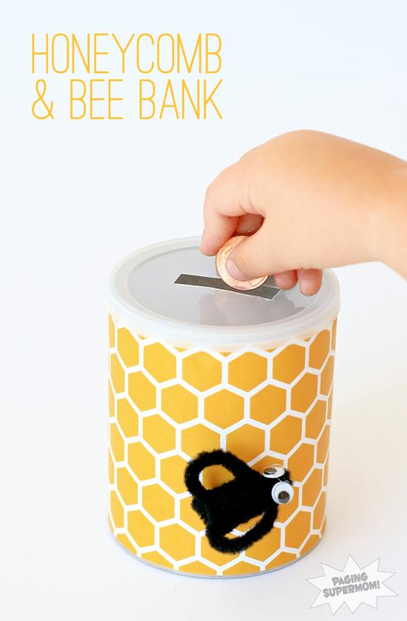 Winnie the Pooh Kids Craft - Honeycomb & Bee Bank at PagingSupermom.com #disneywinnie