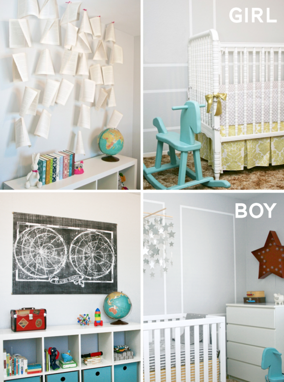 Same Nursery with different decorative details for Boy or Girl at PagingSupermom.com