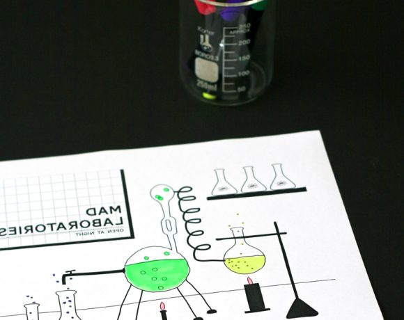 Mad Scientist Laboratory Free Coloring Page