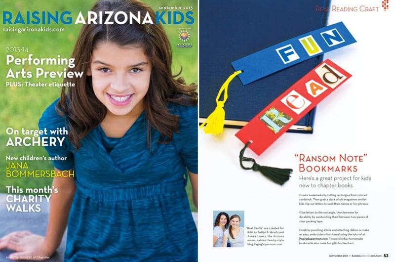 Cute Homemade Bookmarks in Raising Arizona Kids Magazine