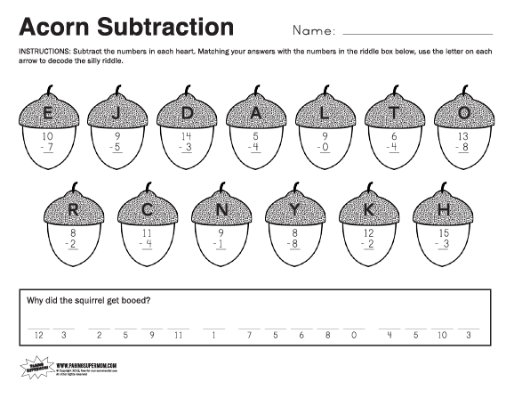 Acorn Fall Math Worksheet Paging Supermom – Fall Math Worksheets