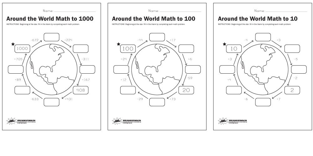 ... below to download our free printable Around the World Math worksheets