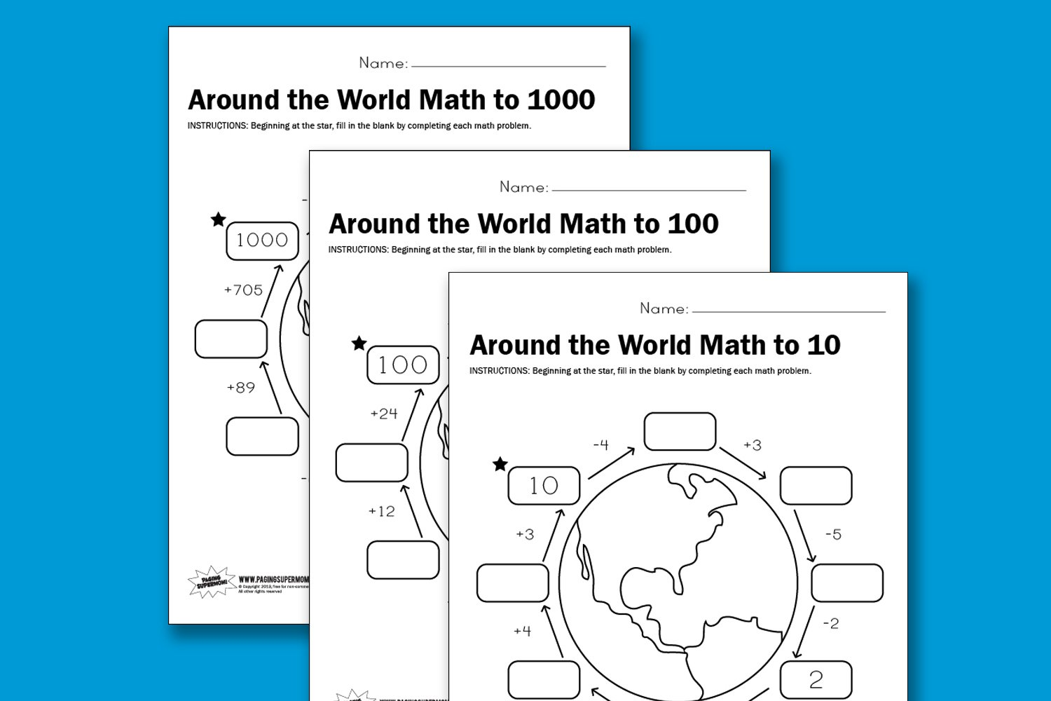 Around-the-World-Math-Printable-Worksheet and more at PagingSupermom.com