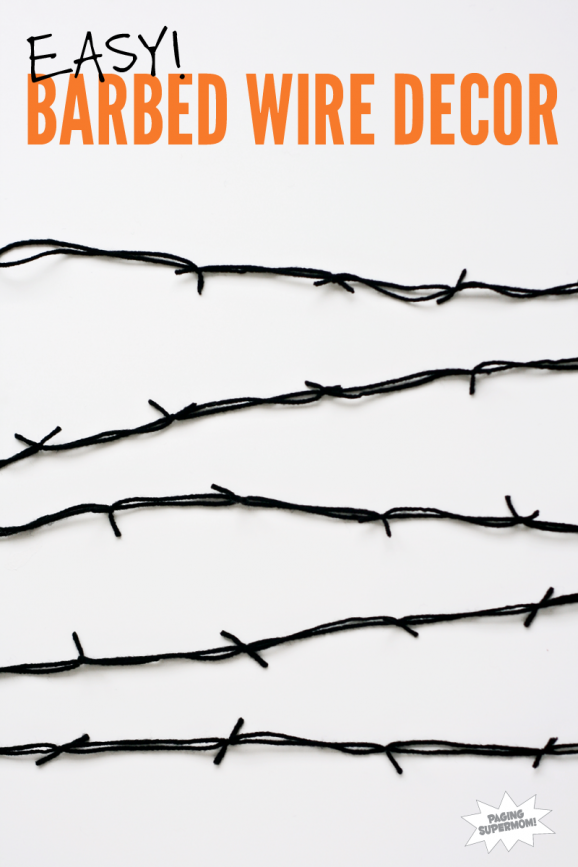 How to make easy, DIY Barbed Wire Garland for Halloween Decor at PagingSupermom.com