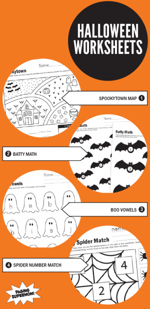 Free Printable Halloween Worksheets from PagingSupermom.com