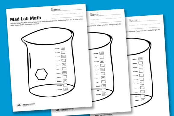 Mad Lab Math Free Worksheet at PagingSupermom.com
