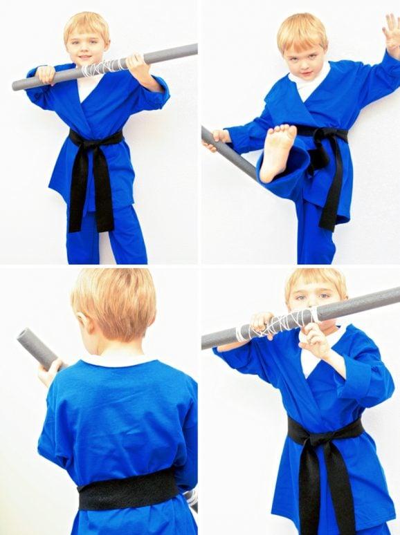 Easy Boys Ninja Costume Halloween and DIY Ninja Nunchuks and Ninja Staff Tutorial