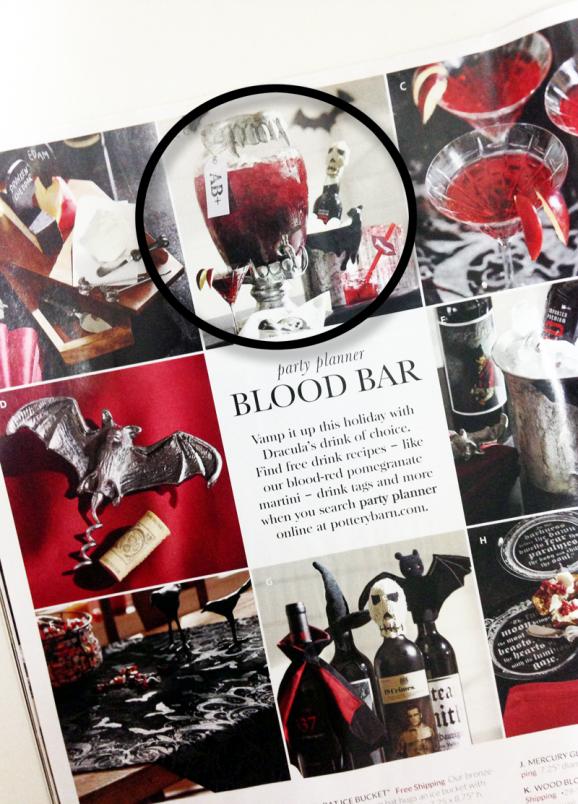 Vampire Blood Bar for Halloween ideas at PagingSupermom.com