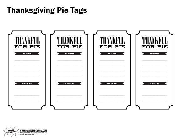Free Printable Pie Labels