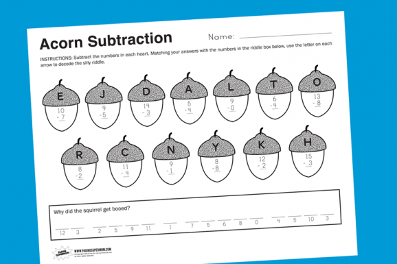 Acorn Math Free Printable Math Worksheet for Fall at PagingSupermom.com