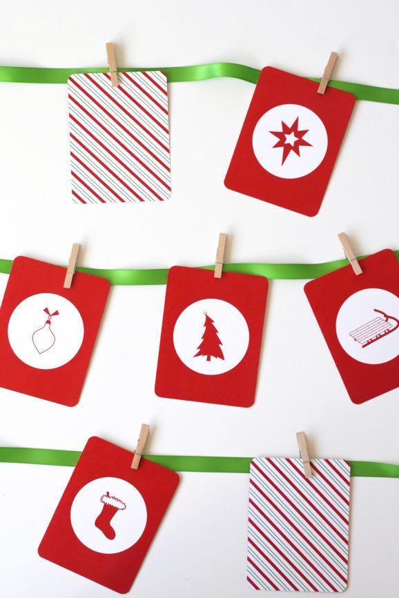 Christmas Memory Match Game & Garland Decoration #FreePrintable