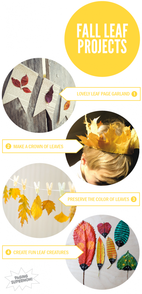 Round up of fun Fall Leaf Projects at PagingSupermom.com #fall