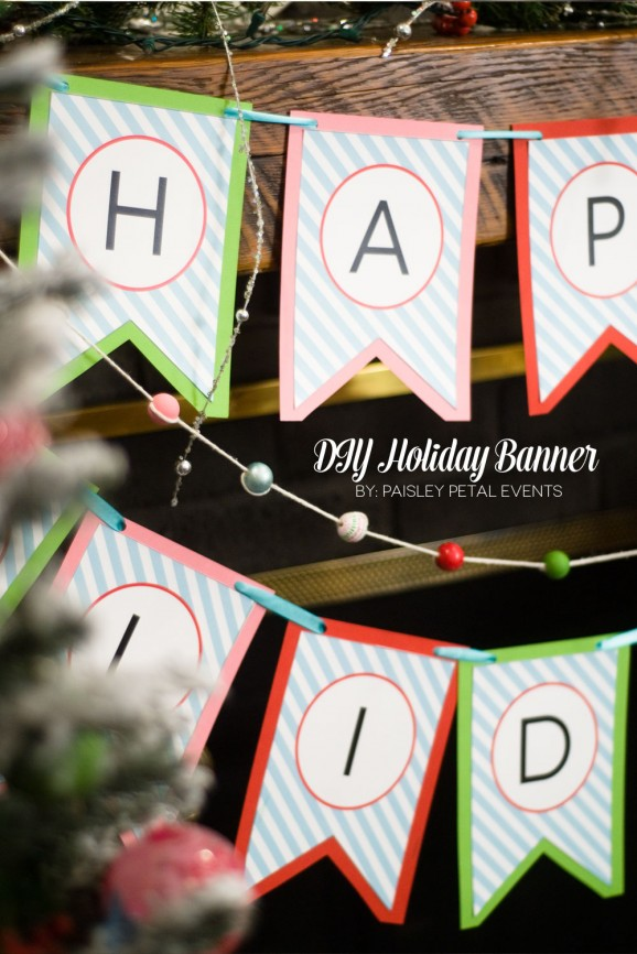 Free Printable Happy Holidays Banner #printables #thepartyhop