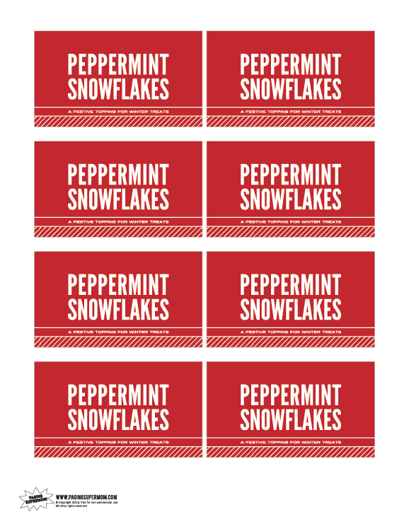 Peppermint Snowflakes Label