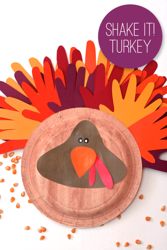 Turkey Tambourine Thankgiving Kids Craft Idea at PagingSupermom.com #thanksgiving #kidscrafts