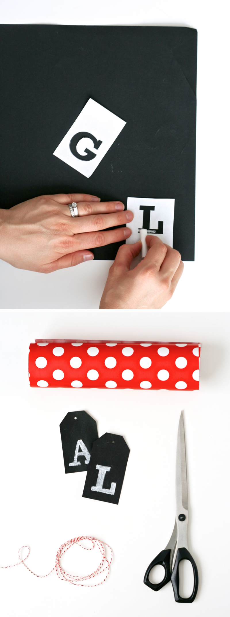 Love these easy Faux Chalkboard Gift Tags from PagingSupermom.com for Christmas Gift Wrapping