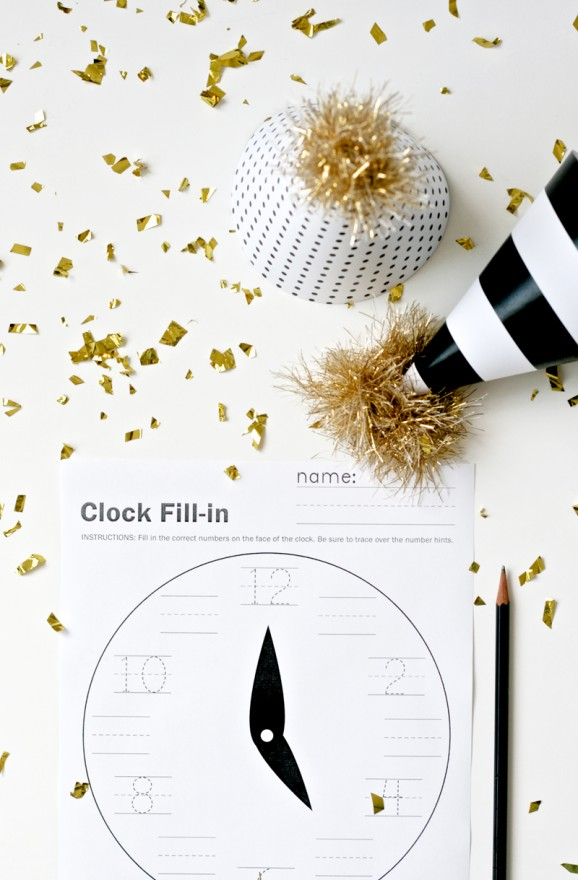 Free Printable New Years Party Hats & Clock Worksheet at PagingSupermom.com