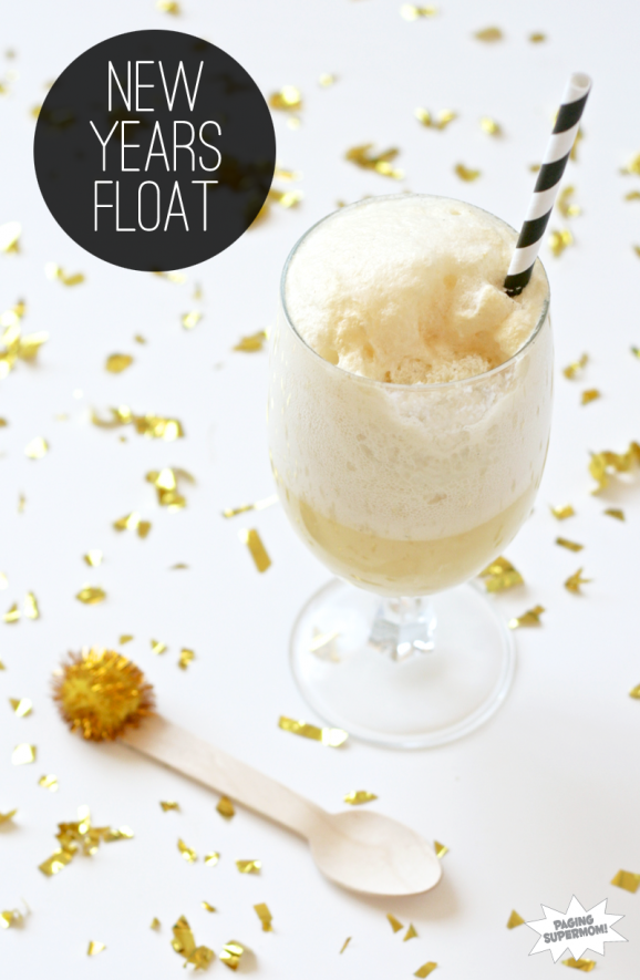 Want to try this New Year's Float drink recipe and lots of family-friendly New Year's Party ideas and free printable decor at PagingSupermom.com