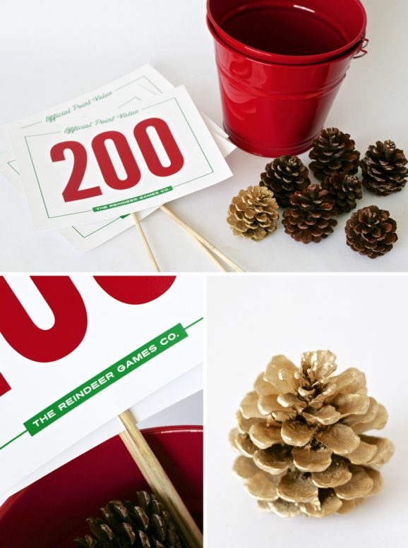 Pine Cone Toss Game with #FreePrintables from PagingSupermom.com. Great for holiday class parties at school