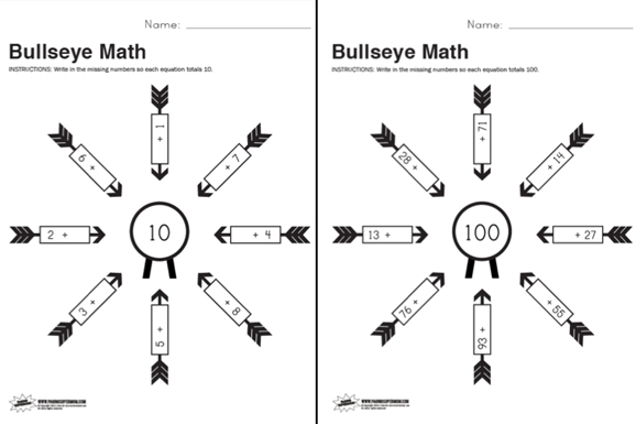 Free Printable Bullseye Math Worksheet Paging Supermom – Free Printable Math Worksheet