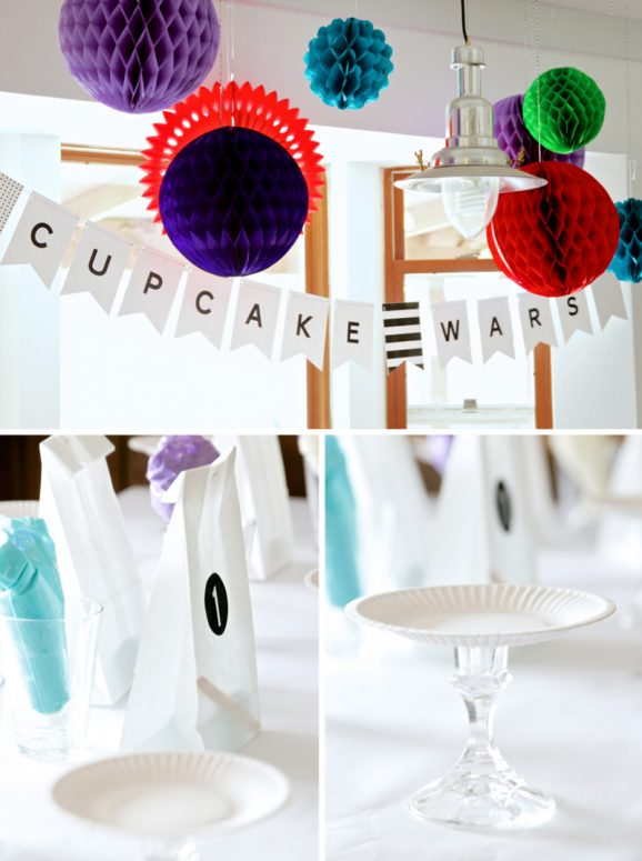 Cupcake Wars Party Decor and Setup Ideas at PagingSupermom.com