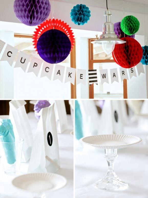 Cupcake Wars Party Decor and Setup Ideas at PagingSupermom.com