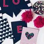 Preppy Navy Valentines LOVE Banner