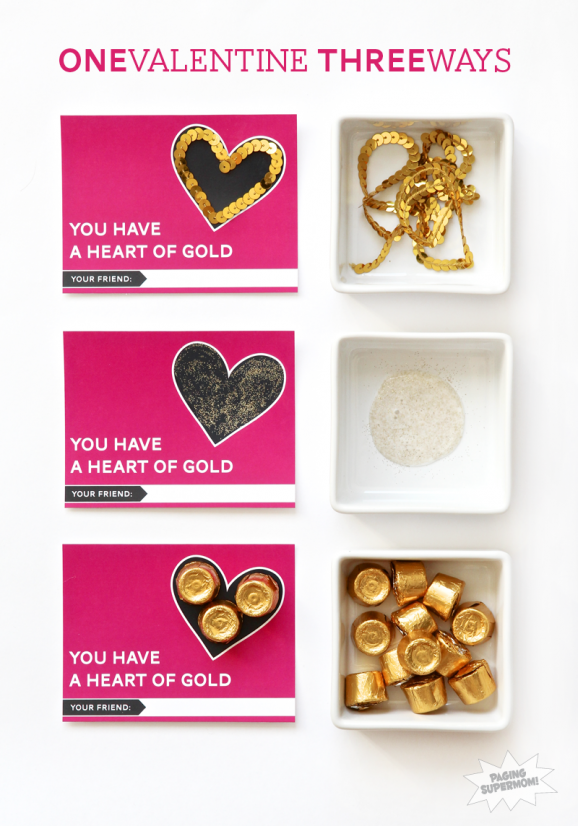 One Valentine Given Three Ways! Coordinating printable Valentine's Decor at PagingSupermom.com #valentines #gold