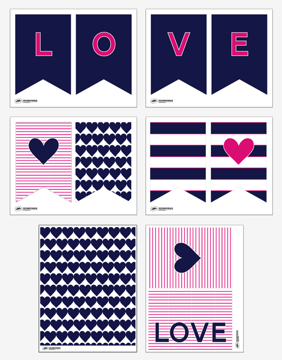 Preppy Valentines Free Printable Decor