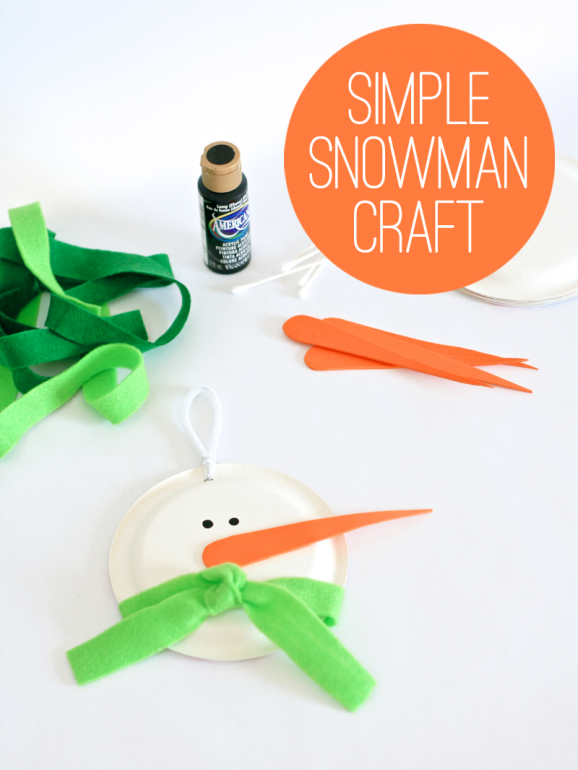 Simple Snowman Craft Idea at PagingSupermom.com