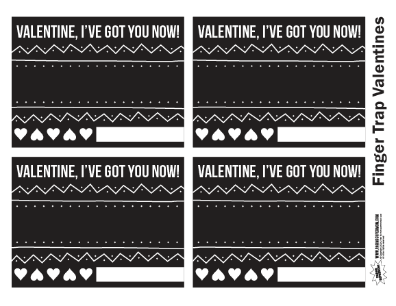 Chinese Finger Trap Free Printable Valentines