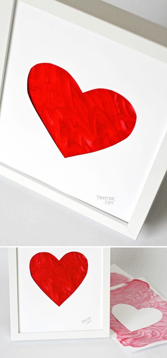 Fingerpainted Heart Preschool Valentines Craft Project for Kids