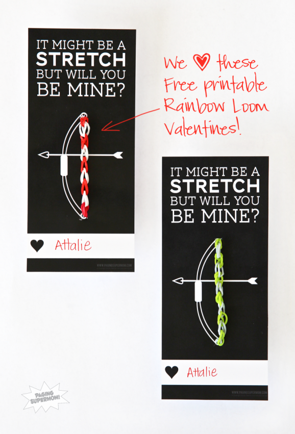 Free Printable Rainbow Loom Valentine at PagingSupermom.com #valentines #rainbowloom