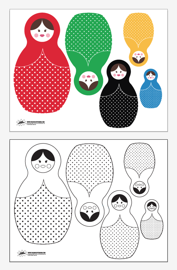 Free Printable Russian Dolls for Sochi Winter Olympics